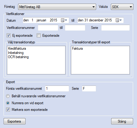 Export av verifikationer