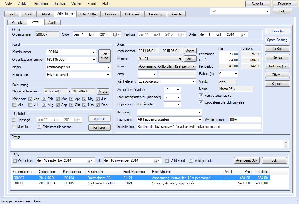 EconExact skärmbilder - Avtalshantering för avtalsfakturering