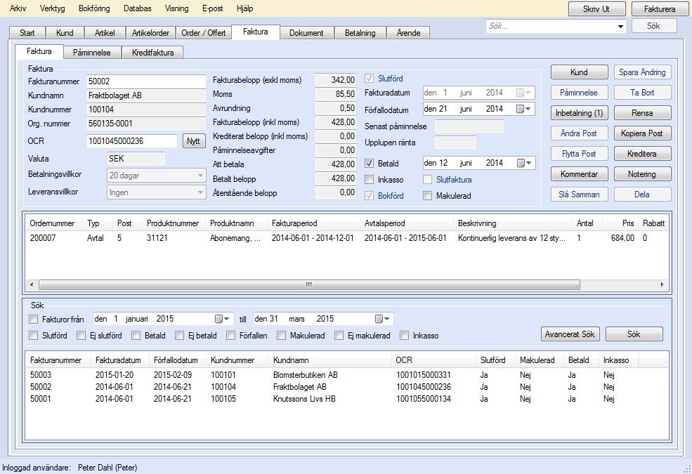 EconExact skärmbilder - Hantering av fakturor