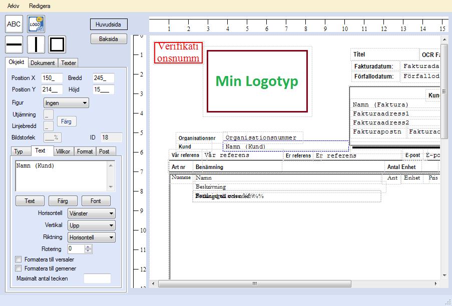 EconExact skärmbilder - Faktura- och dokumentdesign
