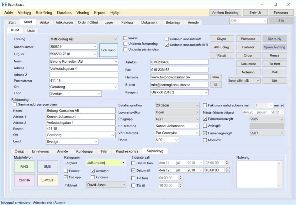 EconExact skärmbilder - Hantering av kunder